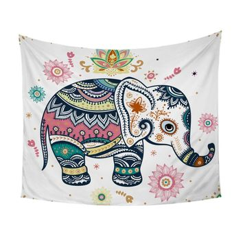 BeddingOutlet Rainbow Mandala Elephant Tapestry Boho Wall Hanging Floral Wall Carpet Bohemian Indian Pastel Decorative Tapestry