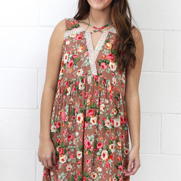 Come Away with Me Strappy Floral Dress {Mocha Mix}