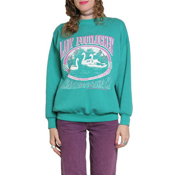 90s Turquoise Swan Crewneck - Lady Footlocker - Sportswear - Cozy Sweatshirt - Crew Neck - Sweat Shirt - 90s 1990s - Oversized Sweater