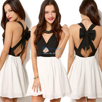 New Summer Party Dress Women Sexy Vintage Black White Cross Back Hollow Out Bowknot Pleated Chiffon Mini Dress b4 SV004228