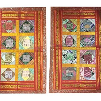 "Designer Bed Pillow Sham Vintage Sari Border Patchwork Silk Pillow Covers 30""X 20"""