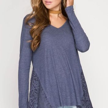 Long Sleeve Ribbed Top With Side Lace