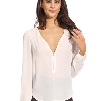 White Long Sleeve Zip Up V-Neck Top