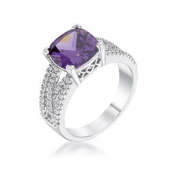 3Ct Elegant Silvertone Criss-Cross Amethyst Purple CZ Engagement Ring, Size 5