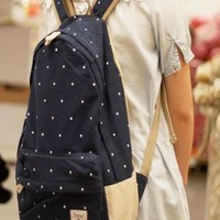 Fashion Dark Blue Dot Canvas Backpack from styleonline