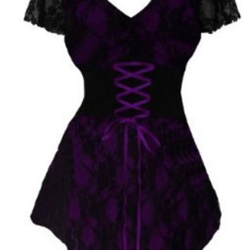 Dare To Wear Victorian Gothic Women's Plus Size Sweetheart Corset Top Purple 1X