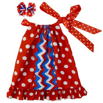 4th of July Polka Dots Pillowcase Red & Blue Chevron Flag Dress