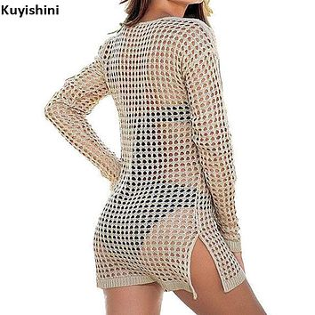 tee shirt femme Sexy Summer Women Mesh Knitted Crochet Beach Tops T Shirts Swimsuit Cover Up Swimwear Bikini Wrap Bathing Suit