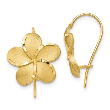 14mm Diamond Cut Plumeria French Wire Earrings in 14k Yellow Gold