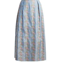 Origami floral-embroidered silk-jacquard skirt   The Vampire's Wife   MATCHESFASHION.COM US
