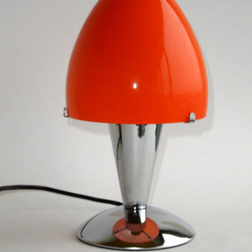 Deco Retro Modern Chrome & Orange Glass Lamp, bedside or table