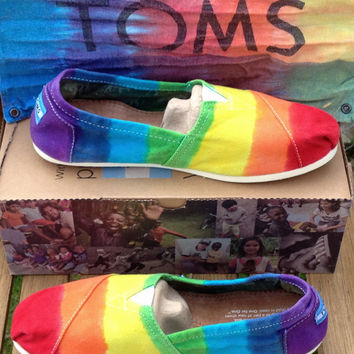 Men's Custom Toms Rainbow Tie Dye Shoes