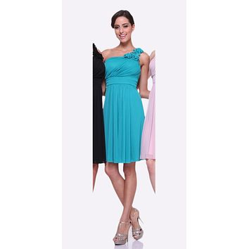 White One Shoulder Chiffon Knee Length Bridesmaid Dress