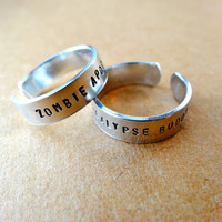 Zombie Apocalypse Buddy Ring Set - Personalized Rings - Thin bands - Set of 2