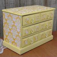 Shabby Chic Jewelry Box, Music Box, Yellow, Damask, Upcycled, Decoupage, Hand Painted, Musical