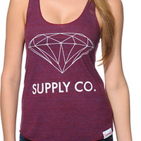 Diamond Supply Co. Girls Supply Co Cranberry Racerback Tank Top