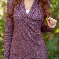 Purple V-Neck Long Sleeve Asymmetrical Zippered Sweatshirt