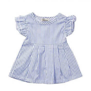 Summer 2017 Cute Newborn Baby Kid Girl Striped Dress Ruffled Sleeve Mini Dress Infant 0-24M