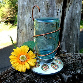 Upcycled Rustic Country Antique Blue Mason by CreativeCorksNMore