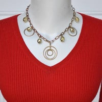 Circles and Mystic Crystals and Metal Chain Necklace Vintage