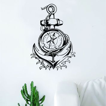 Anchor Compass Decal Sticker Wall Vinyl Art Home Decor Teen Inspirational Ocean Beach Boat Nautical Adventure Travel