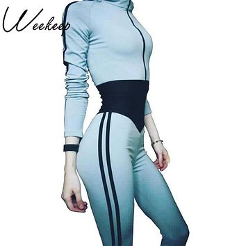 Weekeep 2017 New Fitness rompers womens Jumpsuit Patchwork Hooded Combinaison Femme Jumpsuits Physical Tracksuit Playsuit