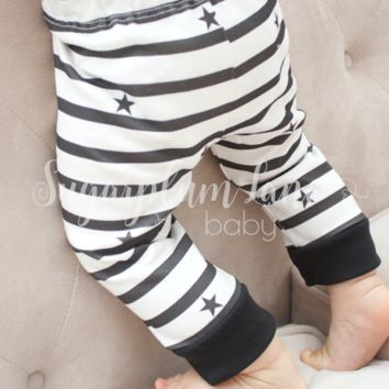 Black & White Stripes Leggings (Organic Cotton)