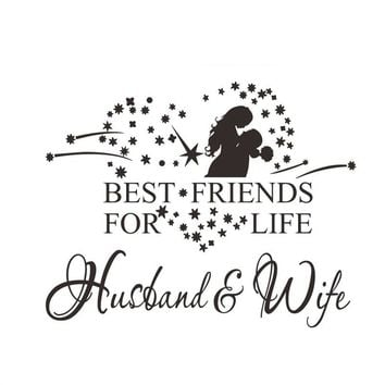 Valentine's Day Wall Stickers 58x46cm Husband Wife Wall Art Decals for Couples Bedroom Living Room