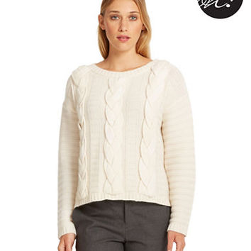 424 Fifth Wool and Cashmere Cable Knit Sweater