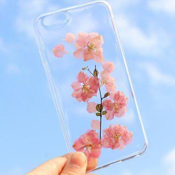 pink flower case 100 handmade dried flowers cover for iphone 7 7plus iphone 6 6s plus gift box b61  number 1