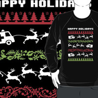 Funny 'Santa Reindeer Pulling Ambulance' Happy Holiday EMT/Paramedic T-Shirt and Accessories