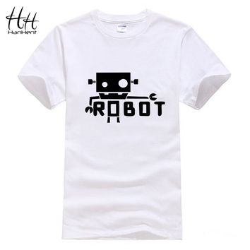 HanHent Creative Robot Android Funny T Shirts Male Fashion Short Sleeve Spoof Geek T-Shirt Unique Letters Printed Tees S-XXL