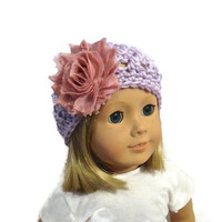 Flower Hat Crochet Lilac Dusty Rose