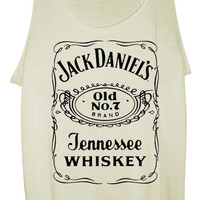 Jack Daniels Ladies Designer Soft Tank Top, Vest - WHITE