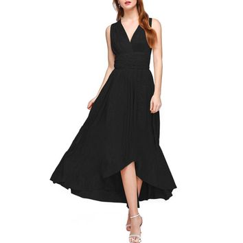 malianna New Women Backless Sexy Asymmetric Party Beach Dresses Convertible Multi Way Wrap Maxi Dress Bandage Bodycon Long Prom