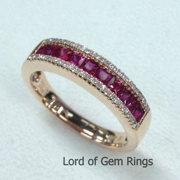 Half Eternity Band Princess Cut Ruby Ring Pave Diamonds in 14K White Gold/Yellow Gold/Rose Gold Wedding Band Anniversary Ring