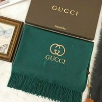 GUCCI Trending Women Men Casual Embroidery Logo Letter Accessories Cape Scarves Scarf(3-Color) Green I-TMWJ-XDH