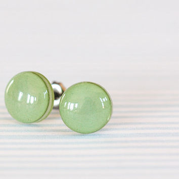 Sage Green Post Earrings - Hypoallergenic Studs