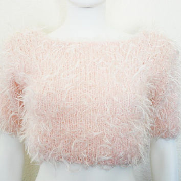 90s Furry Fuzzy Crop top Sweater / Light from DEEEPWATERVINTAGE