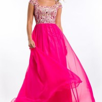 Short Sleeved Chiffon Gown by Party Time