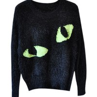 Long Sleeves Mohair Pullover with Cat's Eyes Print