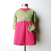 Knitted baby dress and cache-coeur with little flowers. 100% cotton. MADE TO ORDER