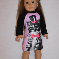 18 inch doll clothes, cat with mustache print nightdress, nightshirt, pyjamas, pajamas, handknit slippers,  American girl, Maplelea