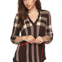 Plaid V-Neck Top - Brown