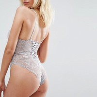 ASOS Blair High Leg Lace Body With Lace Up Back at asos.com