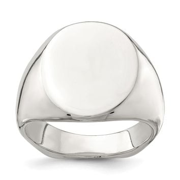 925 Sterling Silver 18x14mm Open Back Signet Ring