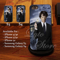 Benedict Cumberbatch Sherlock Tardis Doctor Who Design for iPhone 4, iPhone 4s, iPhone 5, Samsung Galaxy S3, Samsung Galaxy S4 Case