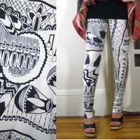 LONG LEGGINGS/ high waisted, tight, fitted, elastic at natural waist, organic cotton, black, white, hand screen printed, tribal, geometric