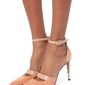 Logo Strap Pink Suede Stiletto Pumps