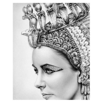 Cleopatra Elizabeth Taylor Vintage Glamour Pencil Portrait Drawing Fine Art Archival Cotton Paper Signed Print